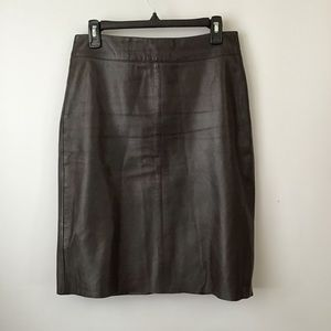 BCBG Max Azria Brown Real Leather Pencil Skirt